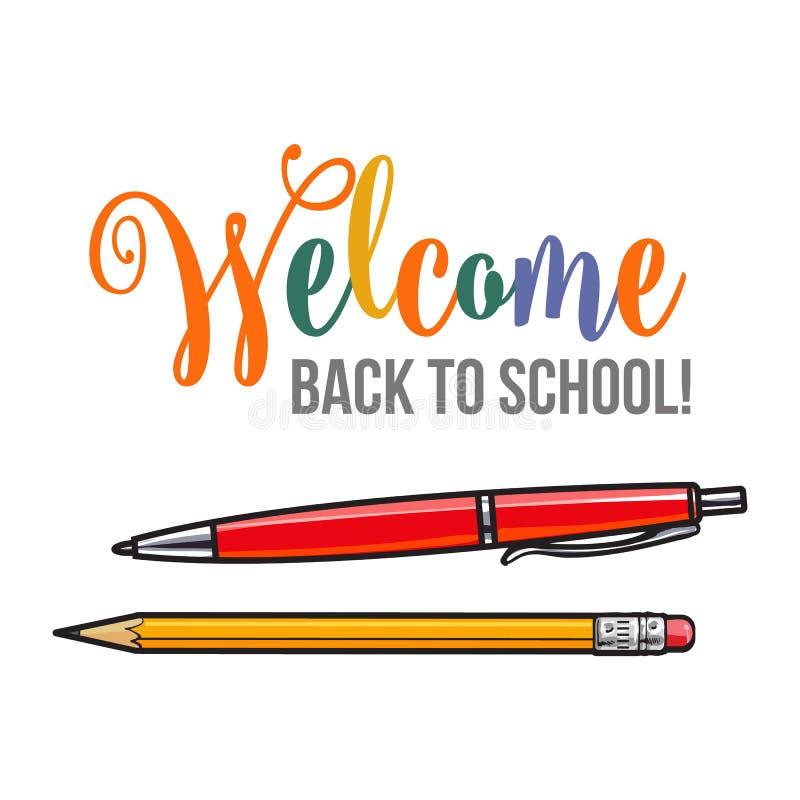 Boa vinda de volta ao projeto do cartaz da escola com pena e lápis ilustração royalty free
