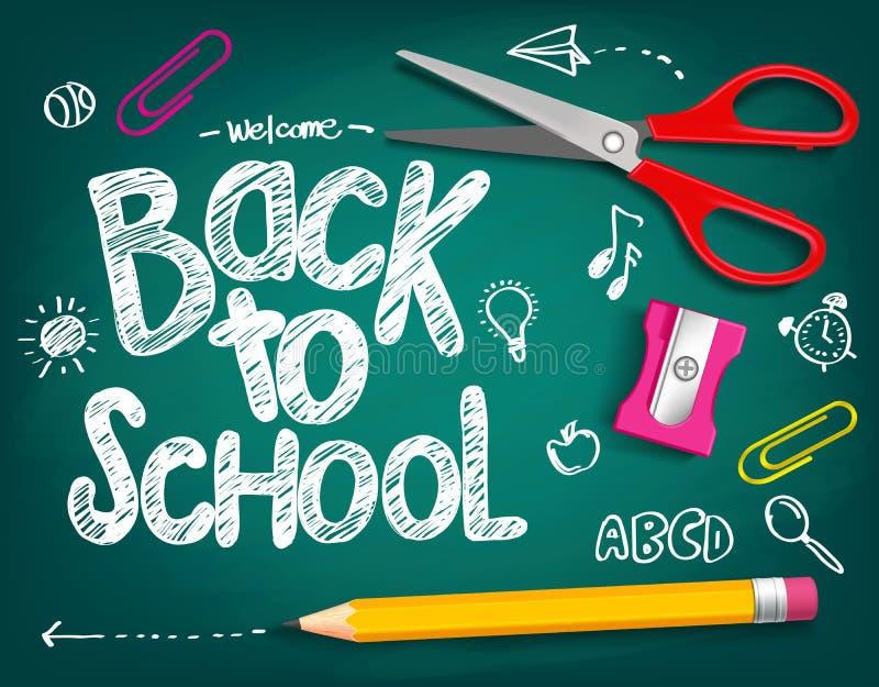 Boa vinda de volta ao título da escola escrito em uma placa de giz ilustração royalty free