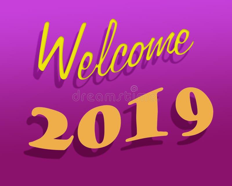 Boa vinda 2019 do ano novo ilustração royalty free