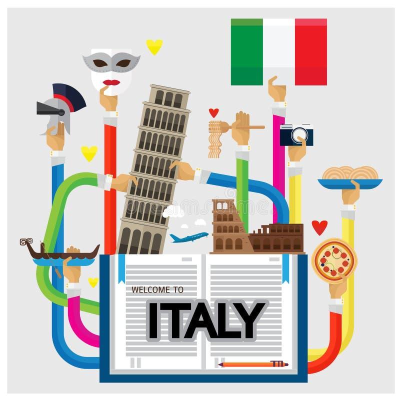 Boa vinda do braço e da mão do vetor a forma ajustada do coração do amor de Itália com Trave ilustração royalty free