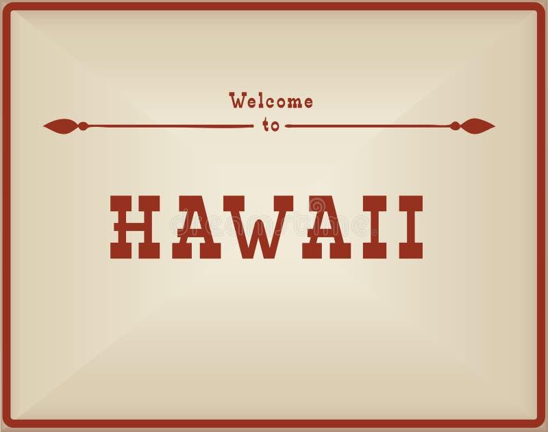 Boa vinda do cartão do vintage a Havaí ilustração do vetor