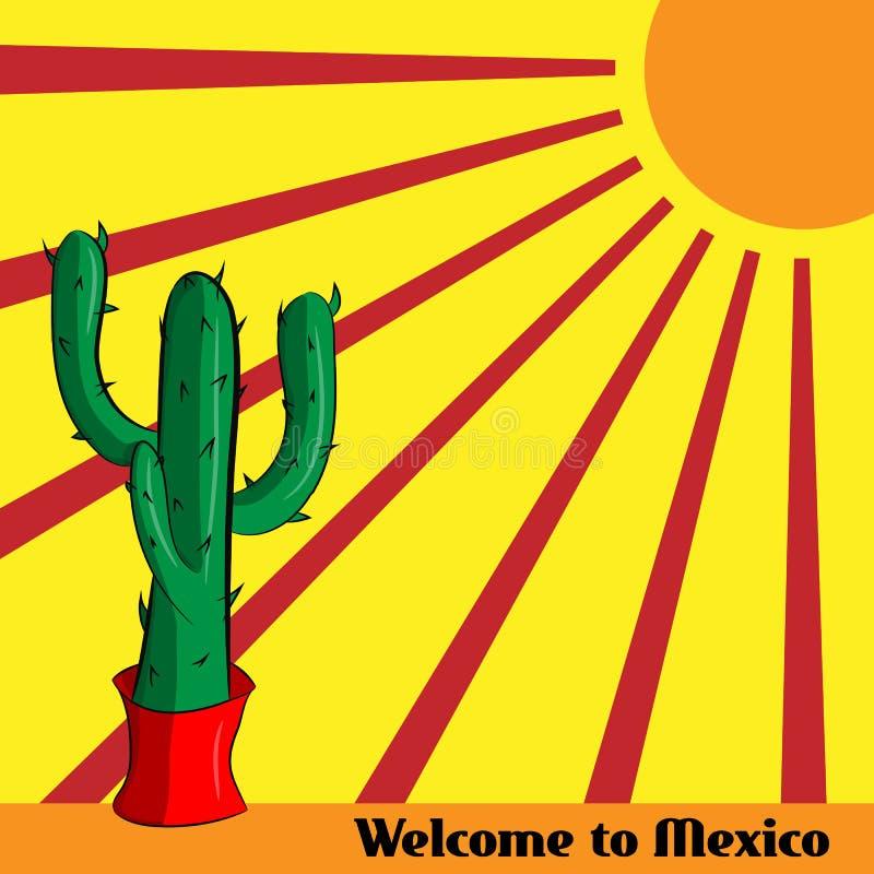 Boa vinda do cartaz a México com a imagem do cacto mexicano ilustração do vetor