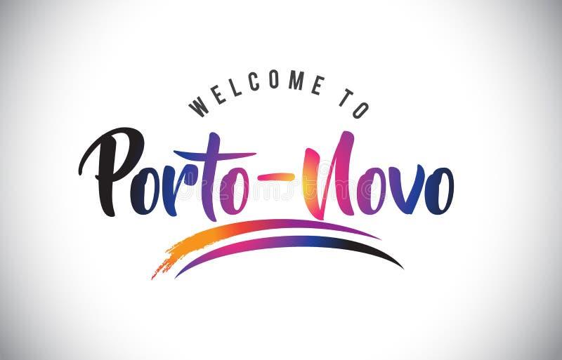 Boa vinda do Porto-Novo à mensagem em cores modernas vibrantes roxas ilustração do vetor