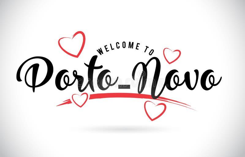 Boa vinda do Porto-Novo para exprimir o texto com fonte e vermelho escritos à mão Lo ilustração do vetor