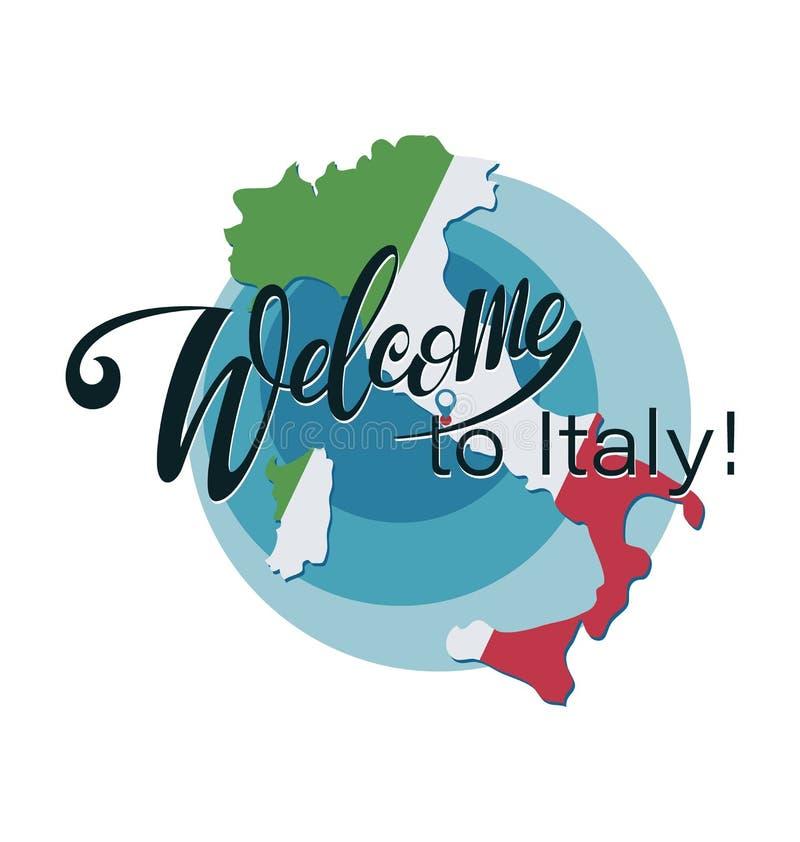 Boa vinda a Itália! O mapa de Itália pintou nas cores da bandeira ilustração royalty free