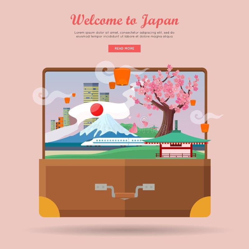 Boa vinda a Japão, cartaz do curso ilustração stock