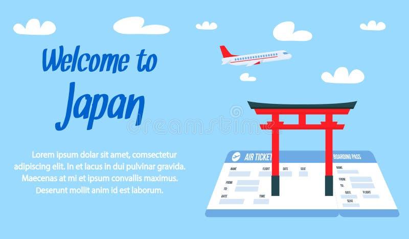 Boa vinda a Japão que rotula o molde da bandeira do vetor ilustração stock