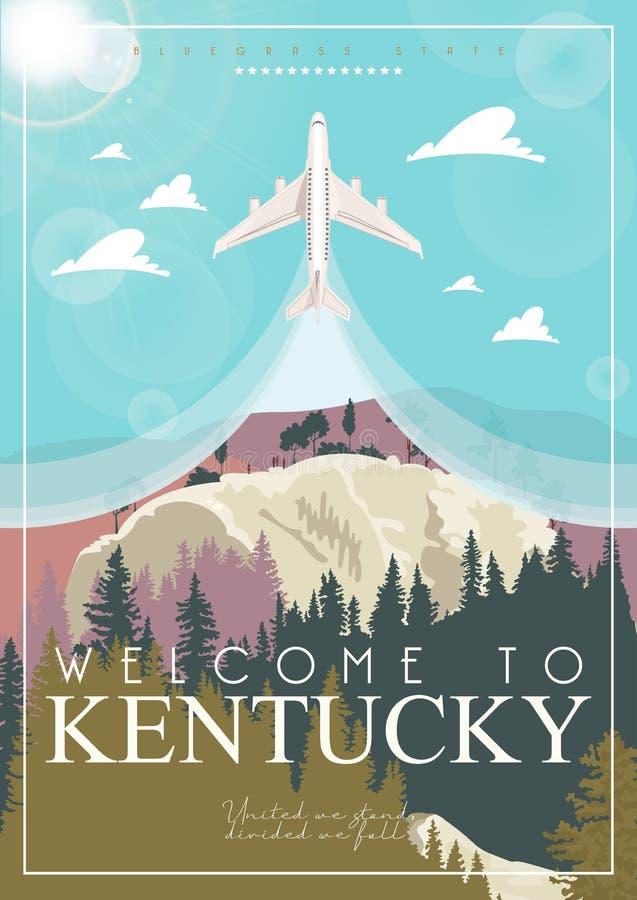 Boa vinda a Kentucky Anunciando a imagem do vetor do curso a Kentucky, Estados Unidos fotografia de stock royalty free