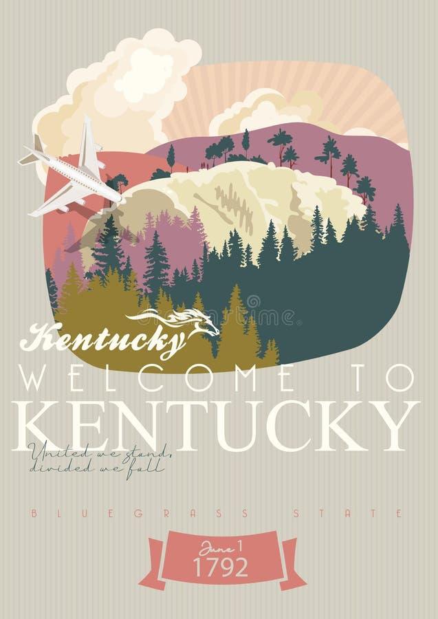 Boa vinda a Kentucky Anunciando o cartão do vetor do curso a Kentucky, Estados Unidos fotos de stock royalty free