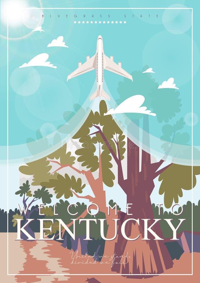 Boa vinda a Kentucky Anunciando o cartaz do vetor do curso a Kentucky, Estados Unidos fotos de stock royalty free