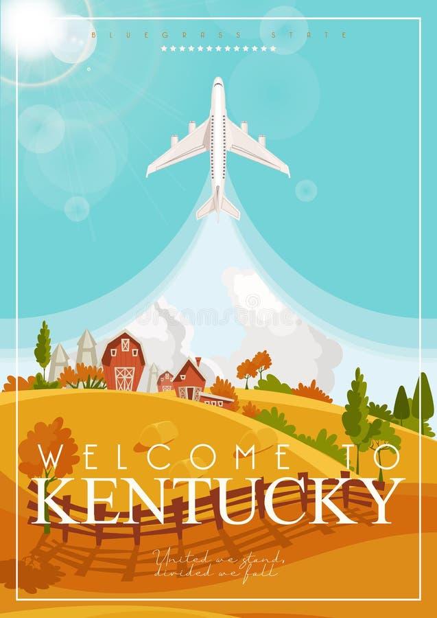 Boa vinda a Kentucky Anunciando o conceito do vetor do curso a Kentucky, Estados Unidos foto de stock royalty free