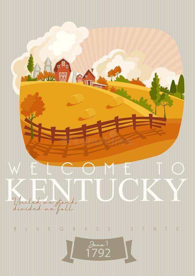 Boa vinda a Kentucky Anunciando o fundo do vetor do curso a Kentucky, Estados Unidos imagens de stock