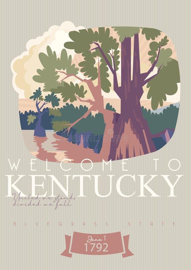Boa vinda a Kentucky Anunciando o molde do vetor do curso a Kentucky, Estados Unidos foto de stock royalty free