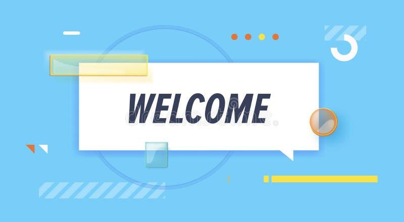 Boa vinda na bandeira do projeto molde para a Web, cópia do vetor, apresentação ilustração royalty free