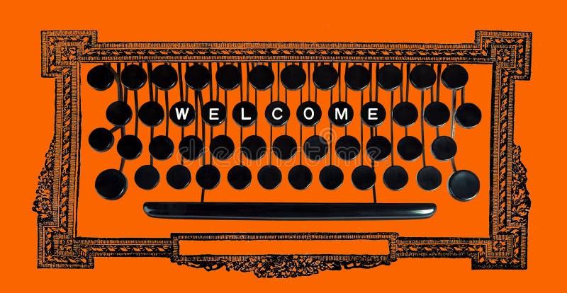 Boa vinda no teclado do vintage ilustração royalty free