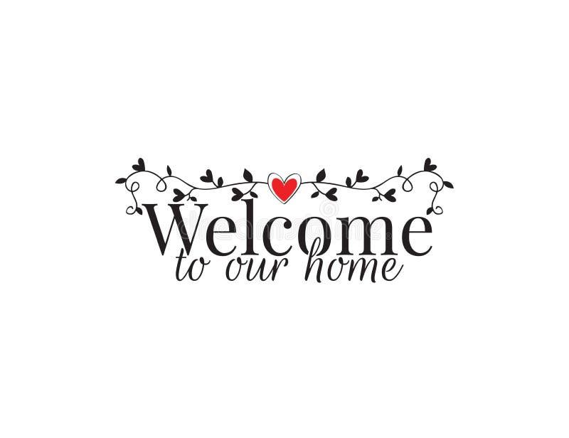 Boa vinda a nossa casa, decalques vetor da parede, decoração da parede, decoração da arte, projeto do cartaz isolada no fundo bra ilustração do vetor