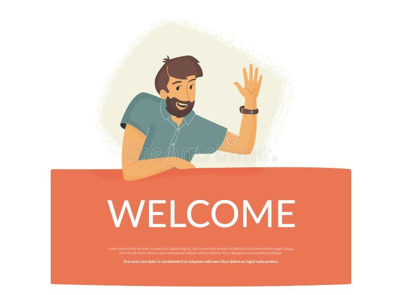 Boa vinda a nossa comunidade Homem amigável que senta-se na bandeira e que acena sua mão para cumprimentar o usuário novo ilustração do vetor