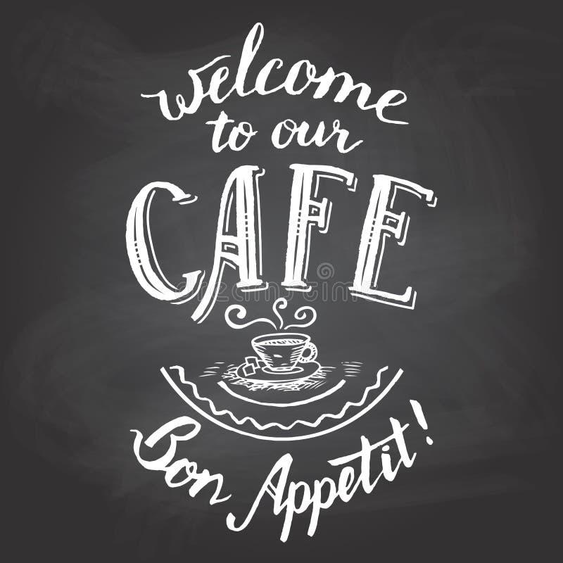 Boa vinda a nosso quadro do café imprimível ilustração do vetor
