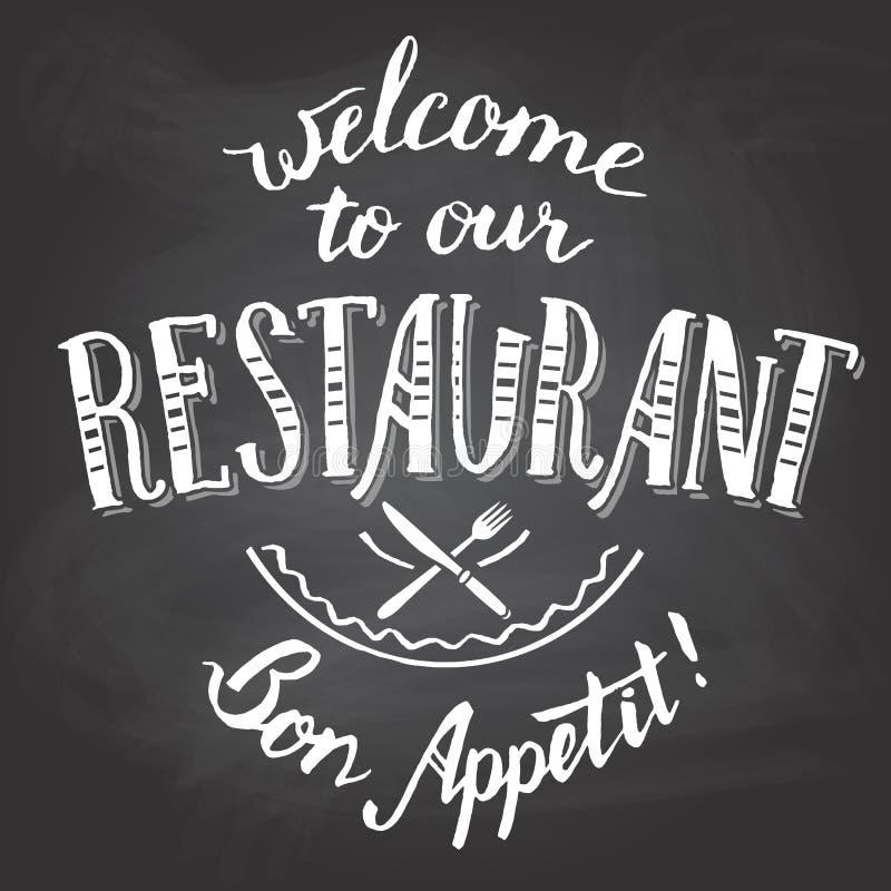 Boa vinda a nosso quadro do restaurante imprimível ilustração royalty free