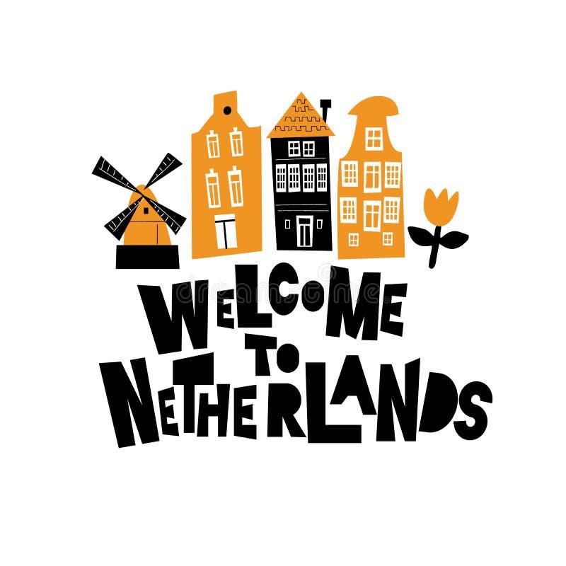 Boa vinda a Pa?ses Baixos Ilustração do moinho de vento, da tulipa e de construções holandesas tradicionais ilustração do vetor