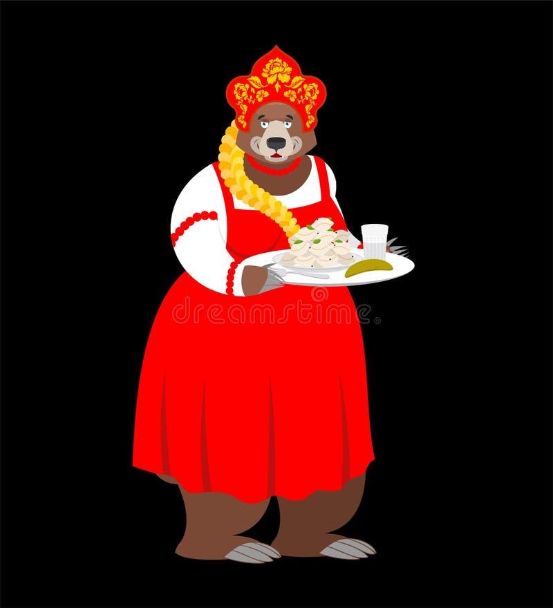 Boa vinda a Rússia Urso do russo e vodca e bolinhas de massa Nationa ilustração do vetor