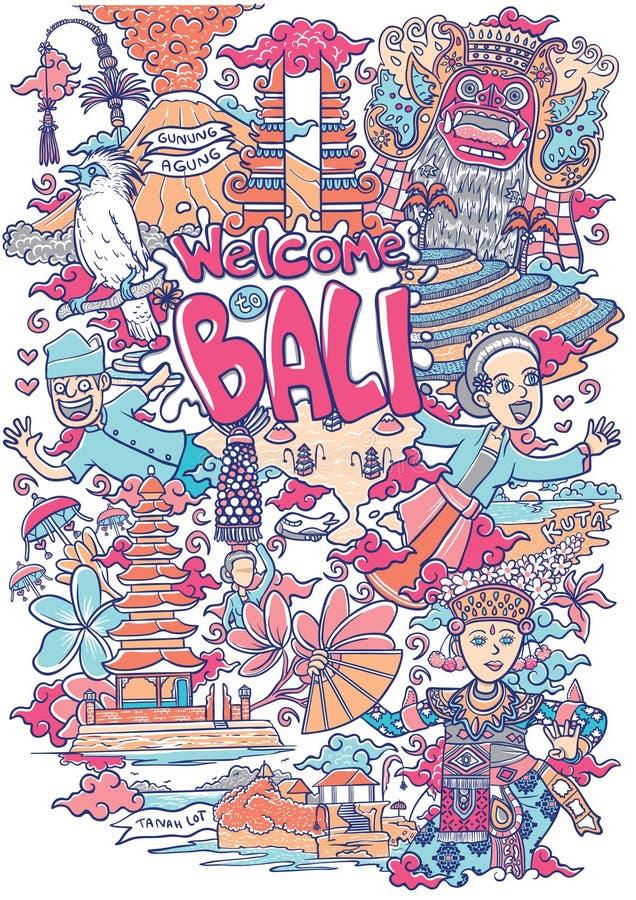 Boa vinda a surpreender a ilustração de bali ilustração stock