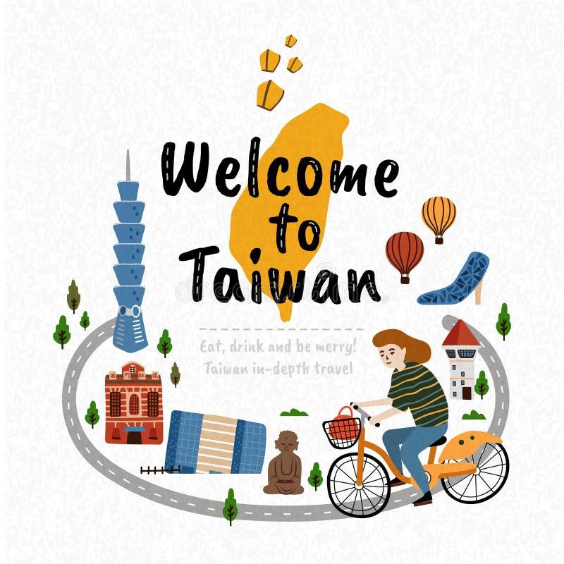 Boa vinda a Taiwan ilustração do vetor
