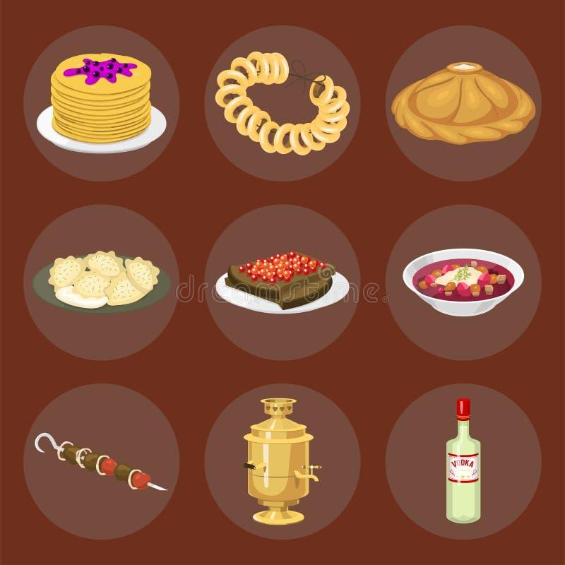 Boa vinda tradicional do alimento do curso do prato de cultura da culinária do russo à ilustração nacional gourmet do vetor da re ilustração stock