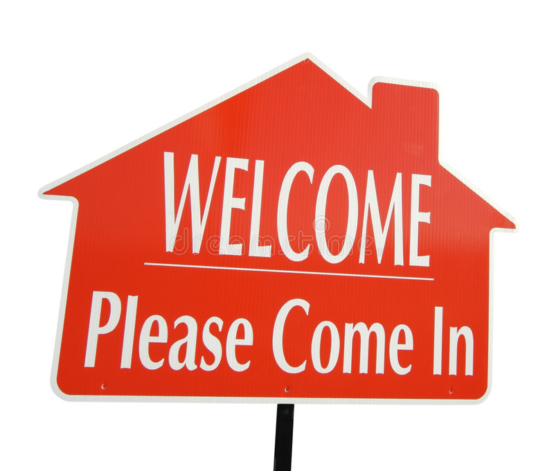 A boa vinda, vem por favor no sinal fotografia de stock royalty free