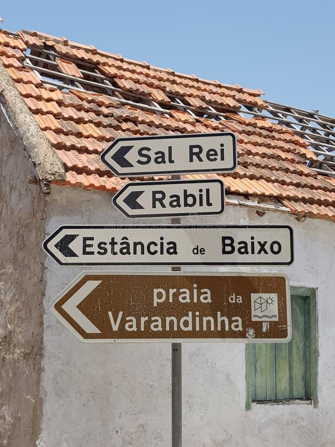 Boa Vista de las se?ales de tr?fico, Cabo Verde foto de archivo libre de regalías