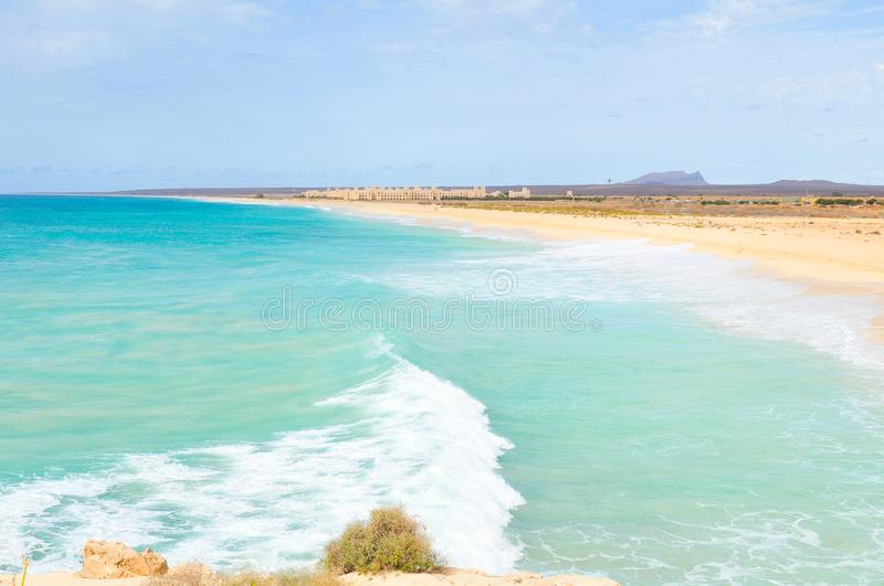 Boa Vista island, Cape Verde, Africa. View of exotic beach on the Boa Vista island, Cape Verde, Africa royalty free stock photography