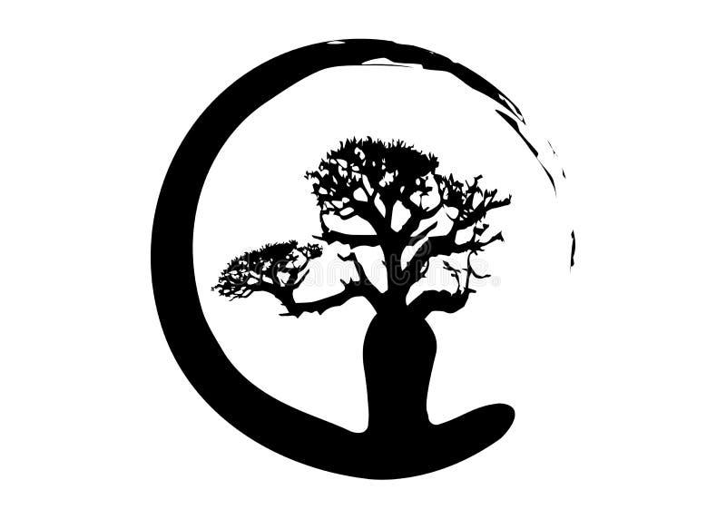 Boab of Baobab geïsoleerde Boomvector, het pictogram van het het embleemconcept van het boomsilhouet vector illustratie