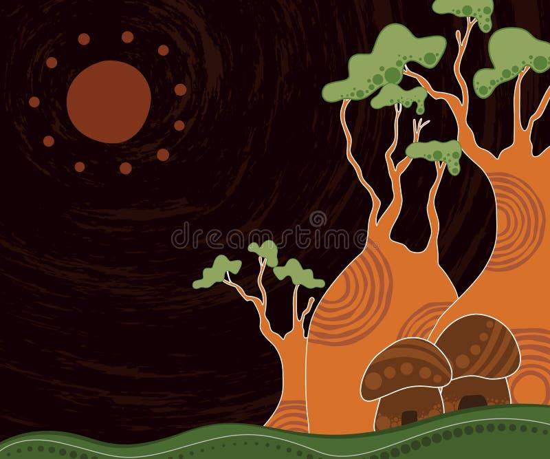 Boab baobabu Drzewny Wektorowy obraz royalty ilustracja