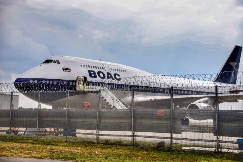 BOAC-i livré 747 av filosofie kandidat royaltyfri foto
