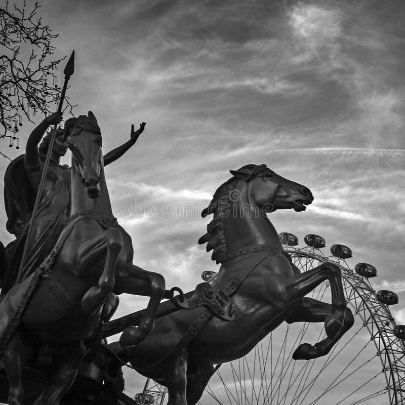 Boadicea Statue, London. Black and white view of Boadicea Statue and the London Eye , London royalty free stock photography