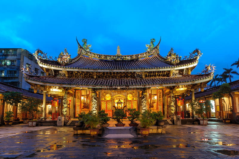 Boan temple in Taipei city. Night view of Boan temple in Taipei, Taiwan royalty free stock photos