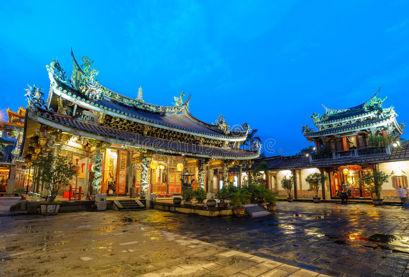 Boan temple in Taipei city. Night view of Boan temple in Taipei, Taiwan stock photos