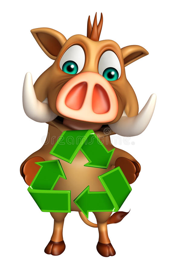 Boar cartoon character with recycle sign royalty free illustration