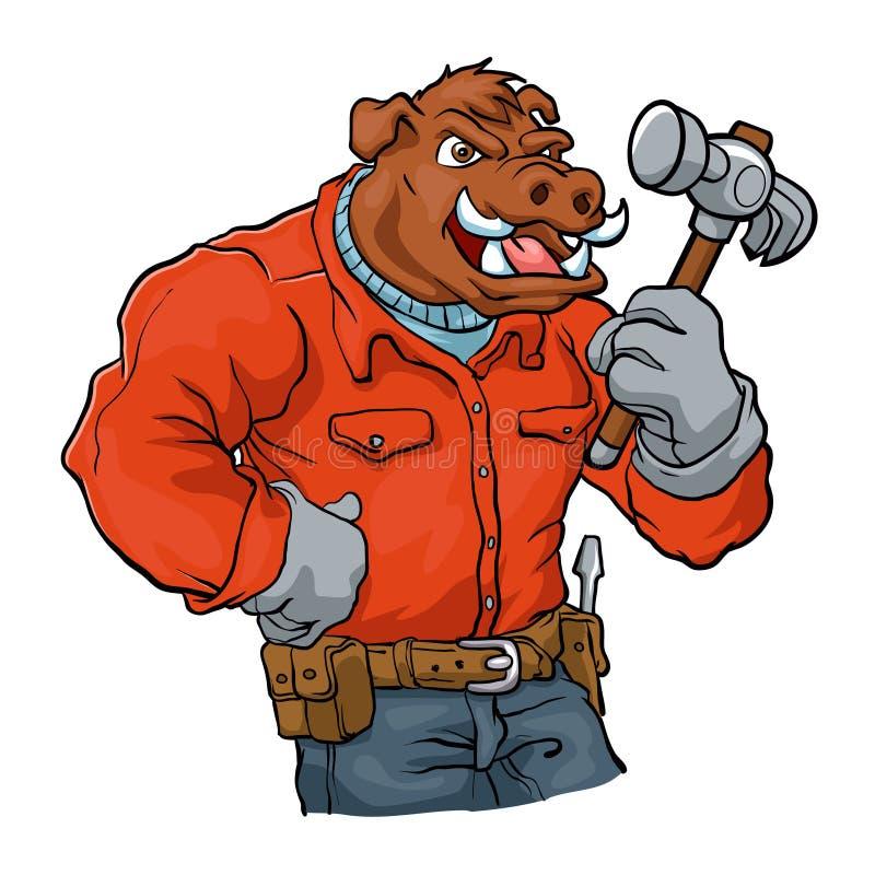 Boar cartoon mascot.handyman royalty free illustration