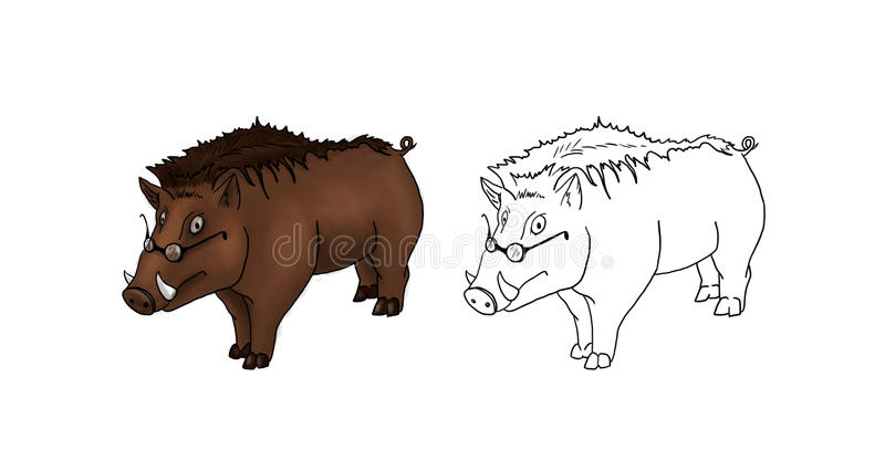 Download Boar with glasses stock illustration. Image of colors - 15518568