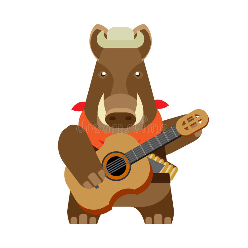 Boar with guitar. Illustration of a boar on a white background stock illustration