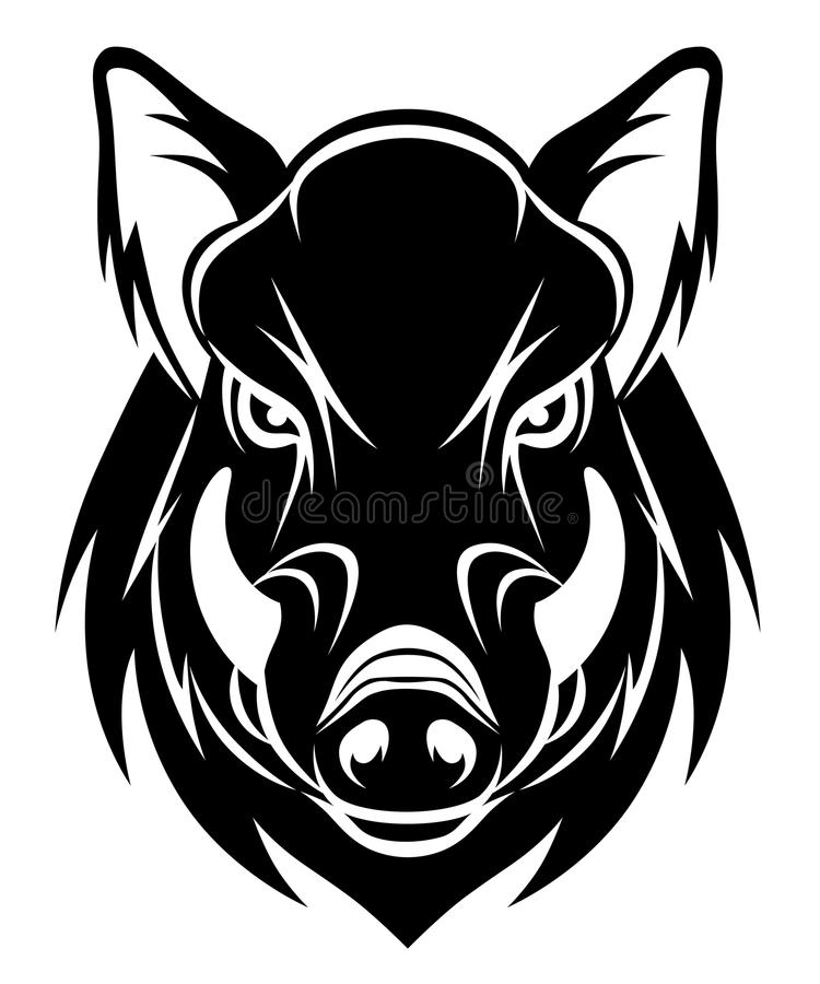 Boar head. Vector head of angry boar isolated on the white background vector illustration