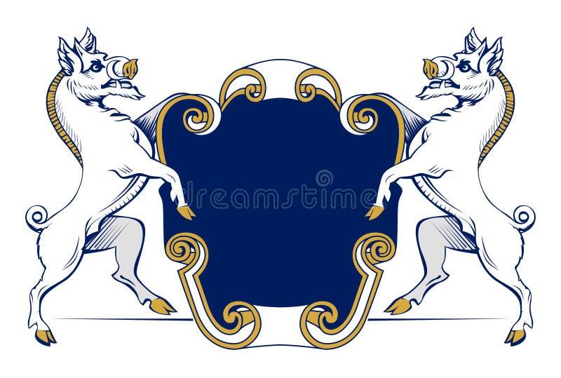 Download Boar heraldic emblem stock vector. Image of scroll, ribbon - 18937362