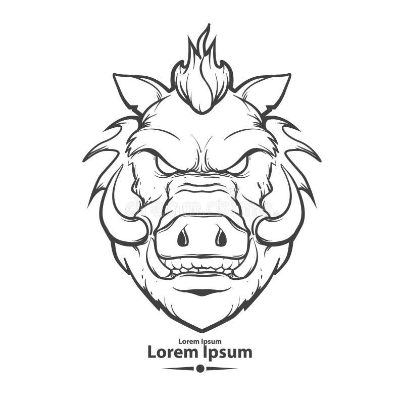 Boar. For logo, american football symbol, simple illustration, sport team emblem, for design elements royalty free illustration