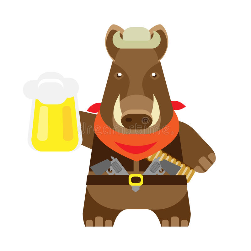 Boar with a pint. Illustration of a boar on a white background vector illustration