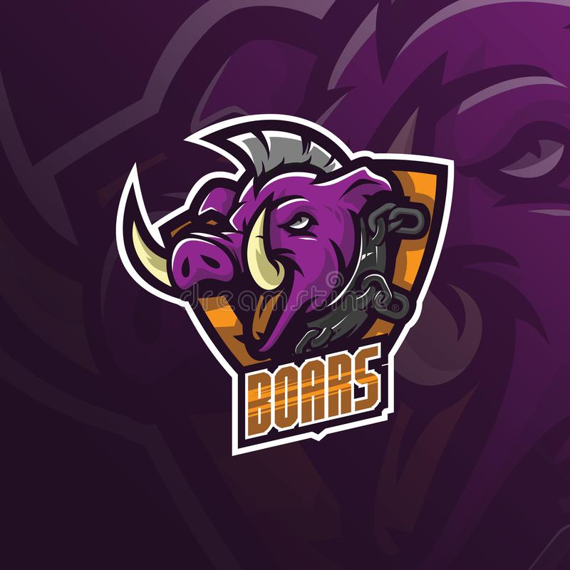 Boar vector mascot logo design with modern illustration concept style for badge, emblem and tshirt printing. angry boar. Illustration for sport and esport team stock illustration