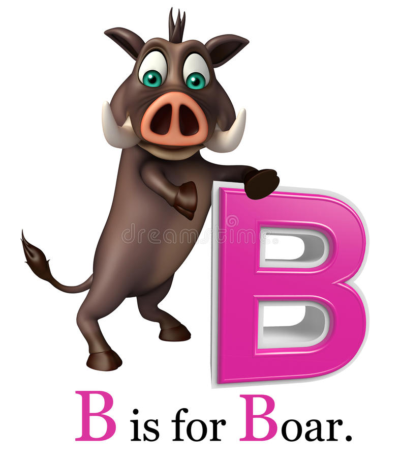 Boar wild animal with alphabate vector illustration