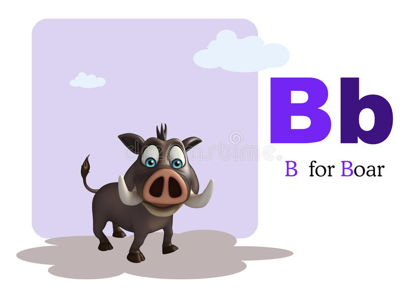 Boar wild animal with alphabate royalty free illustration