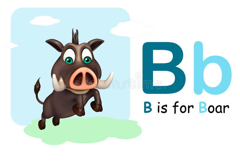 Boar wild animal with alphabate stock illustration