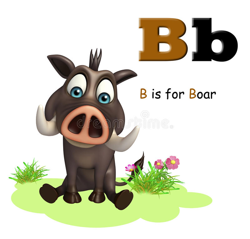 Boar wild animal with alphabate. 3d rendered illustration of Boar wild animal with alphabate vector illustration